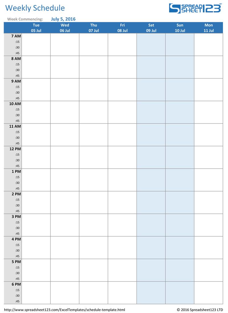 Printable Weekly And Biweekly Schedule Templates For Excel Weekly Calendar Time Slots Printable