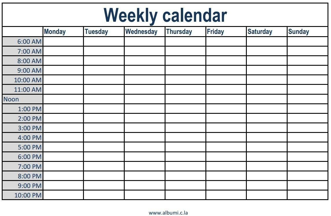 Printable Weekly Calendar With Time Slots Printable Weekly Printable One Week Calender