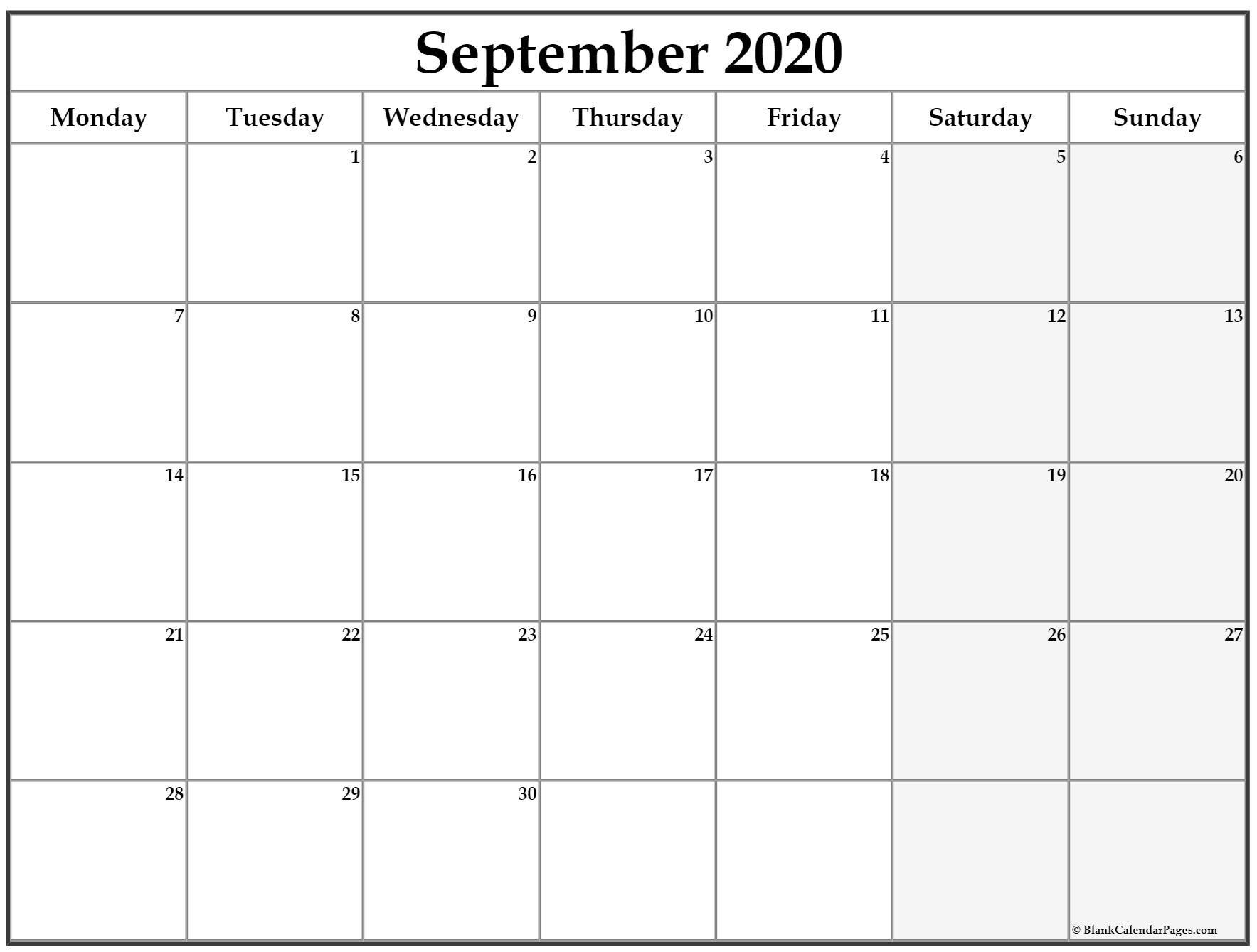 September 2020 Monday Calendar   Monday To Sunday Calendar Saturday To Friday