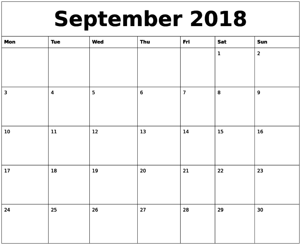 September Calendar 2018 Printable Template Pdf Free Feree Blank Butterfy Calendar Month To Fill In
