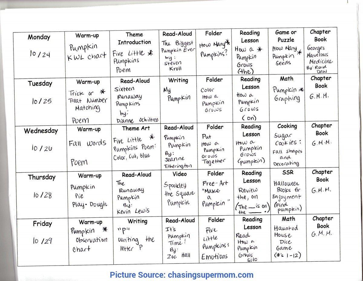 Simple Weekly Lesson Plan For Preschool Sample Pumpkins Lesson Plan Template Weekly Prescool Plannar