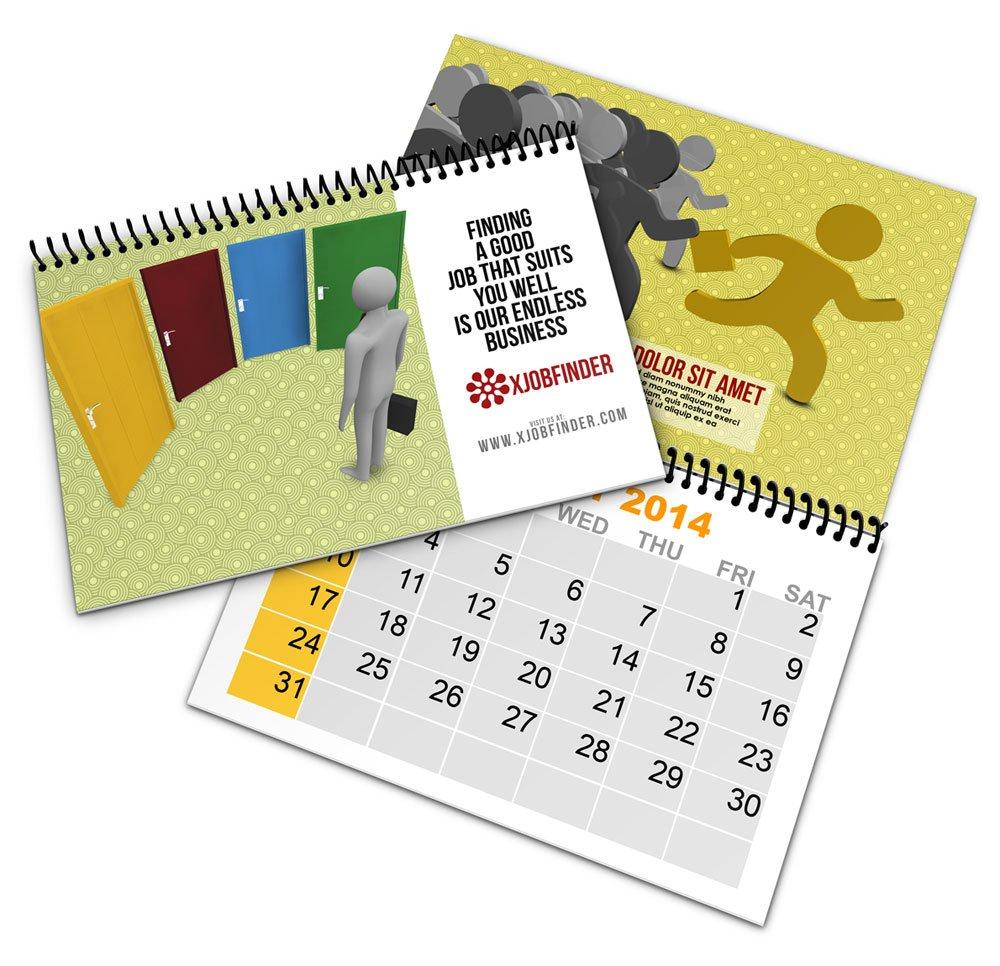 Spiral Bind Calendar Book Mock Up   Cover Actions Premium 5.5 X 8.5 Inch Calendar