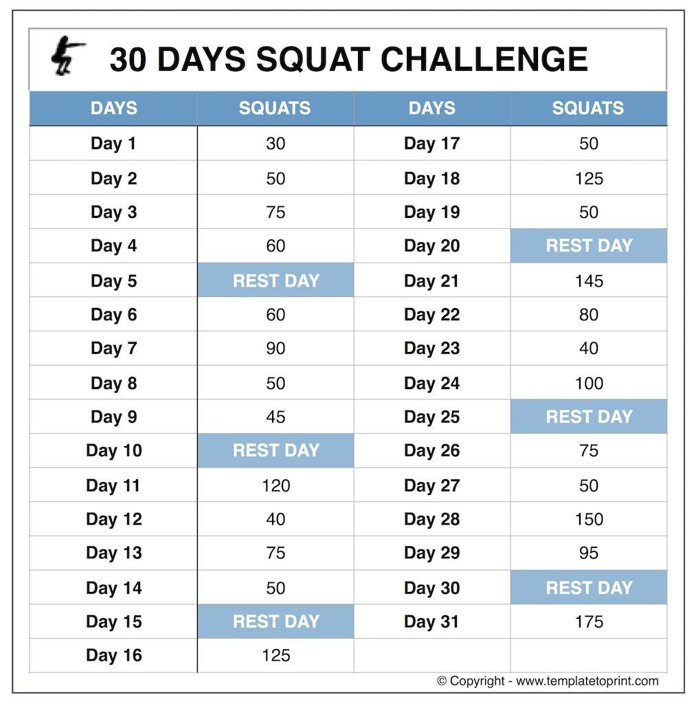 Squat-Challenge-Beginners » Template To Print Squat Challenge Calendar Beginner Printable
