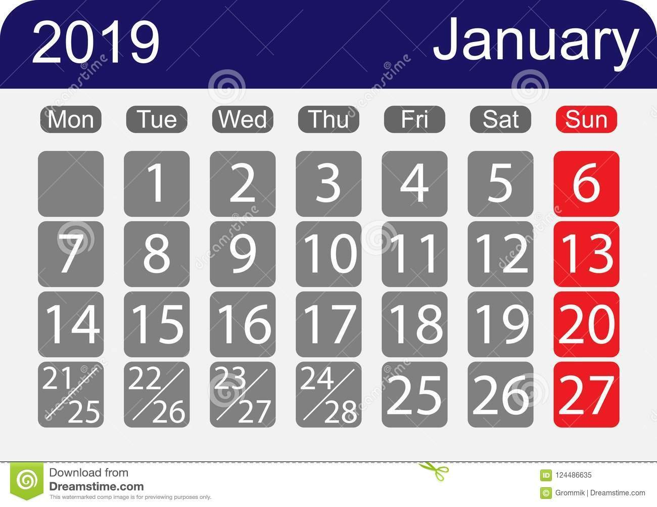 The Calendar 2019, The Month Of January, A Week With One Day Templet One Week Calender