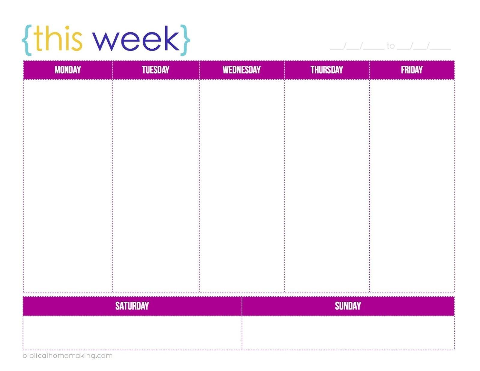 This Week A Free Weekly Planner Printable Biblical One Week Printable Calnedar