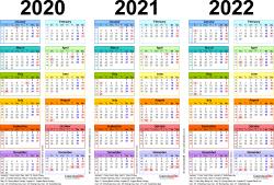 Three Year Calendars For 2020, 2021 & 2022 (Uk) For Pdf Multi Year Printable Calendars Free