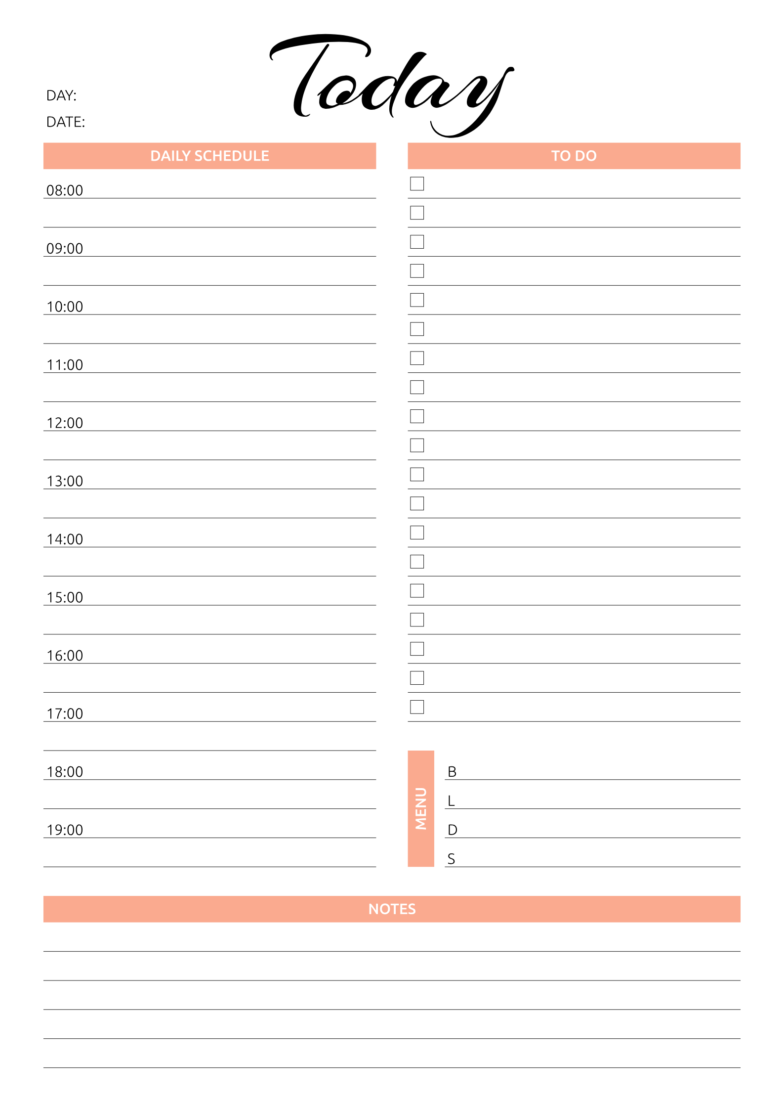 Today Hourly Planner   Daily Planner Template, Hourly Printable Daily Schedule By Hour