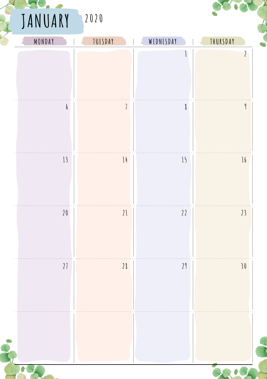 Two-Page Layout Monthly Calendar Template Designed In Floral Layout For Two Week Calendar