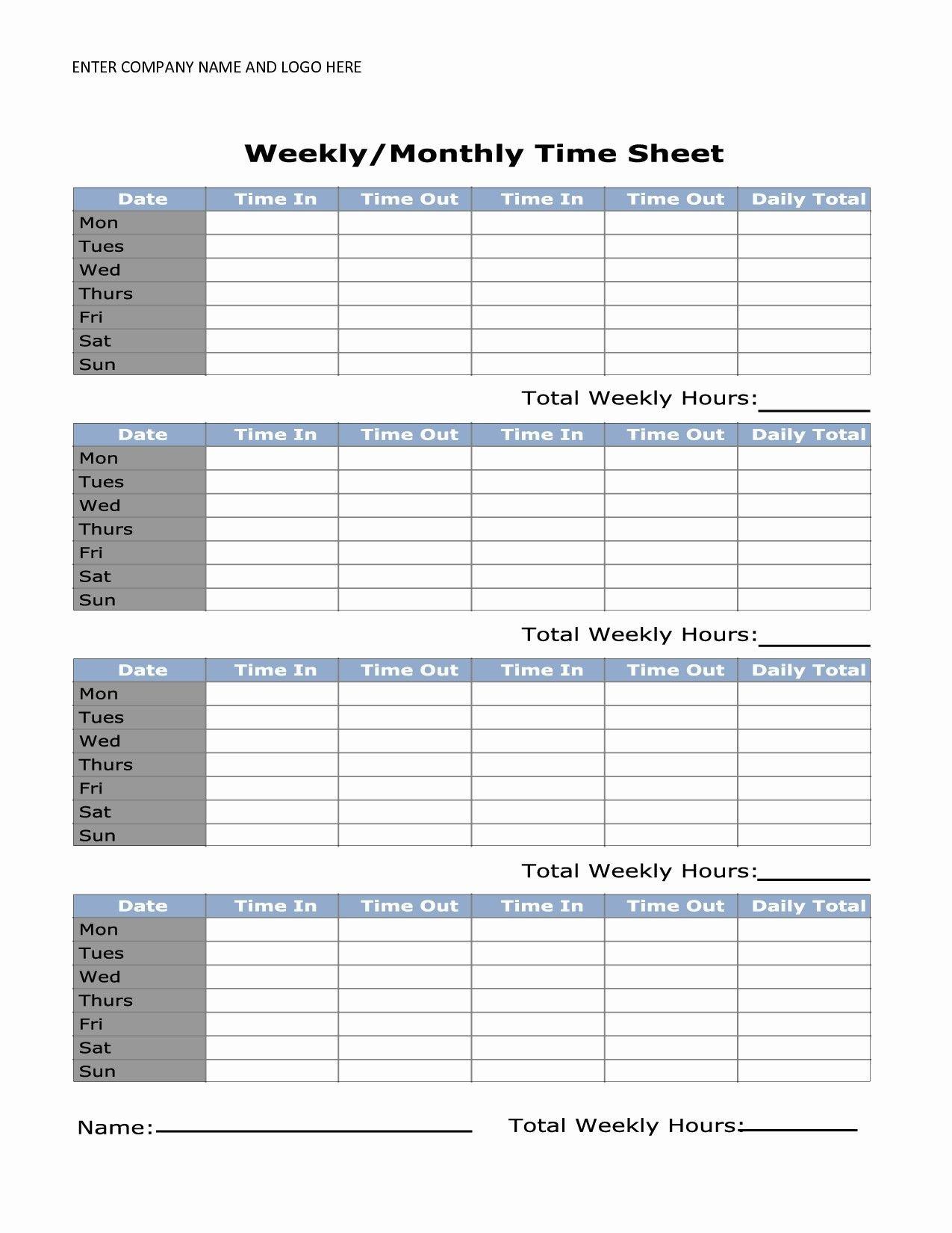 Unique Simple Time Card #exceltemplate #xls #xlstemplate Printable Time Sheet Calendar