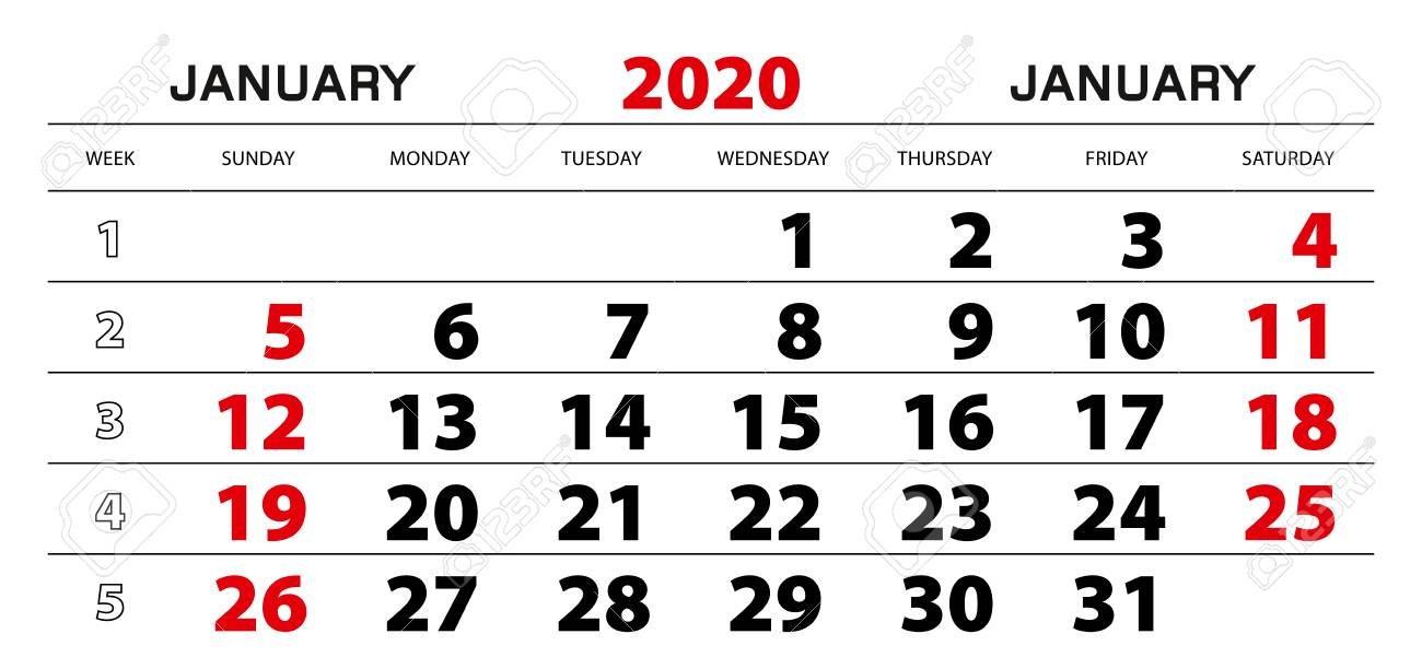 Wall Calendar 2020 For January, Week Start From Sunday. Block.. 1 Through 31 Block Calendar