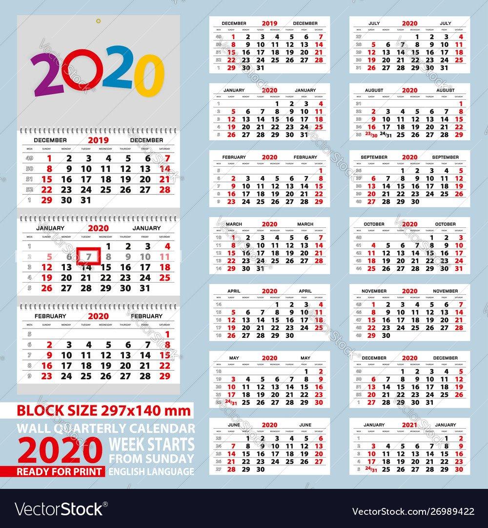 Wall Calendar 2020 Week Start From Sunday For A4 1 Through 31 Block Calendar