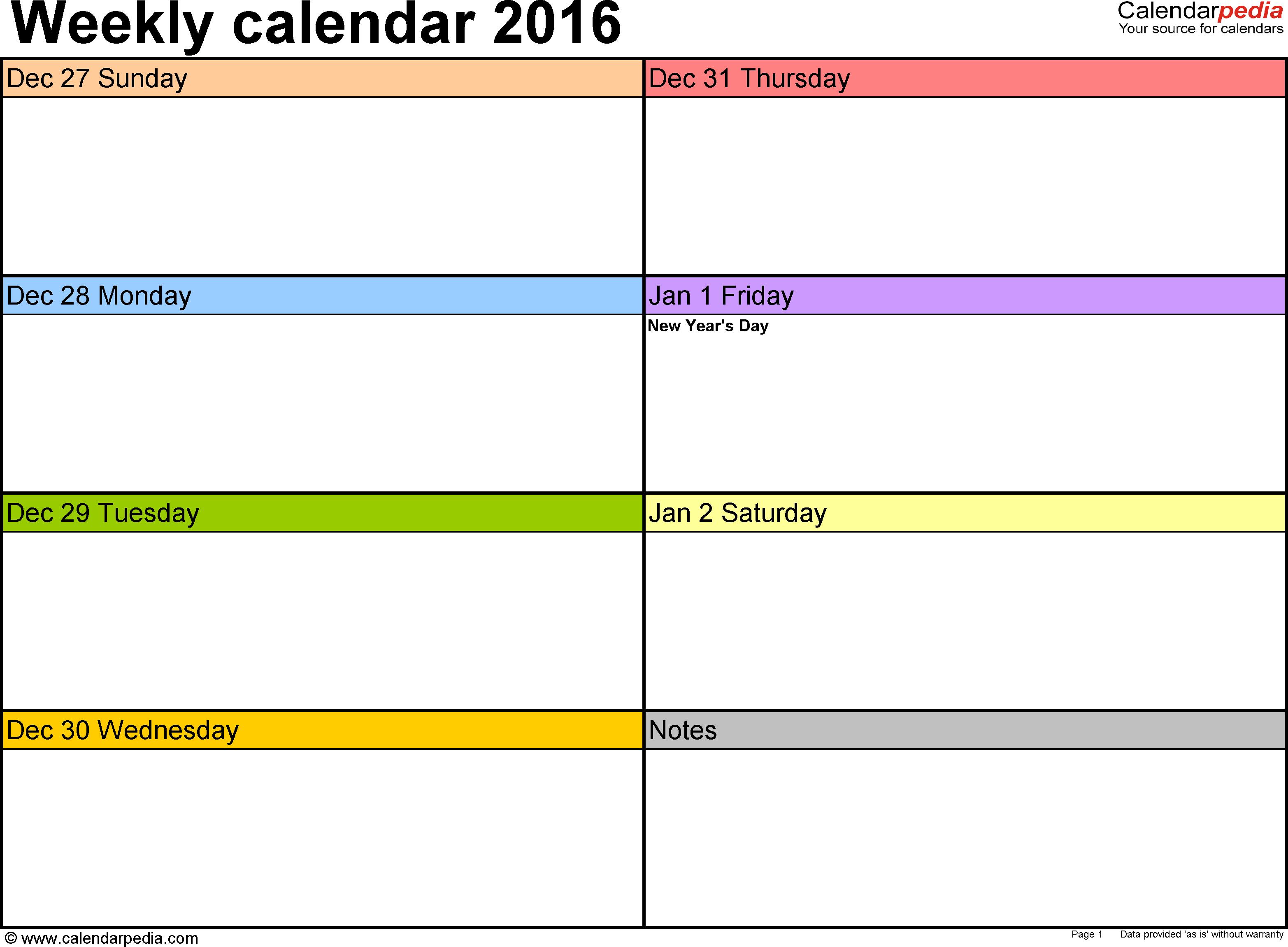 Weekly Calendar 2016: Template For Pdf Version 6, Landscape 2 Week Schedule Word Template