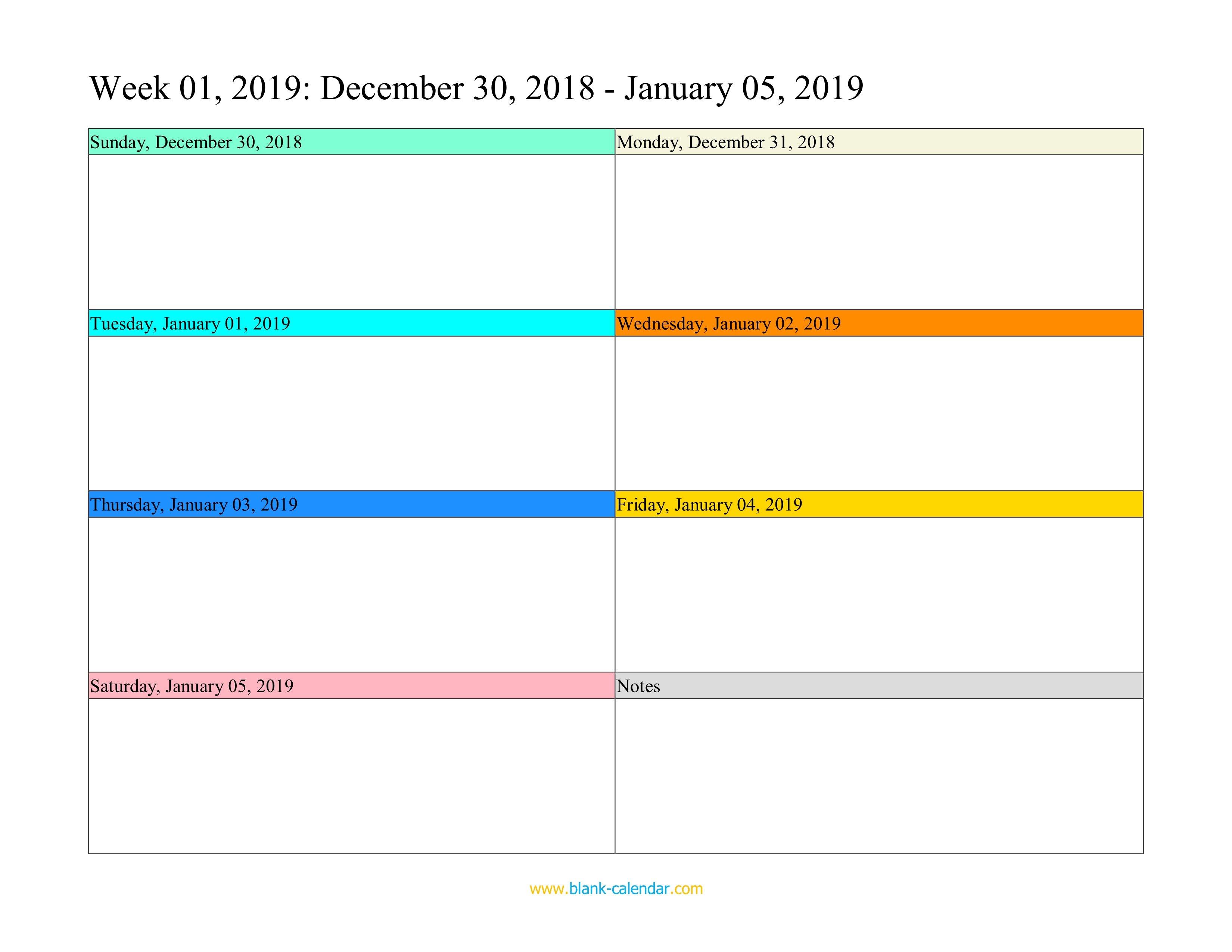 Weekly Calendar 2019 (Word, Excel, Pdf) Monday Friday Calendar Template Word