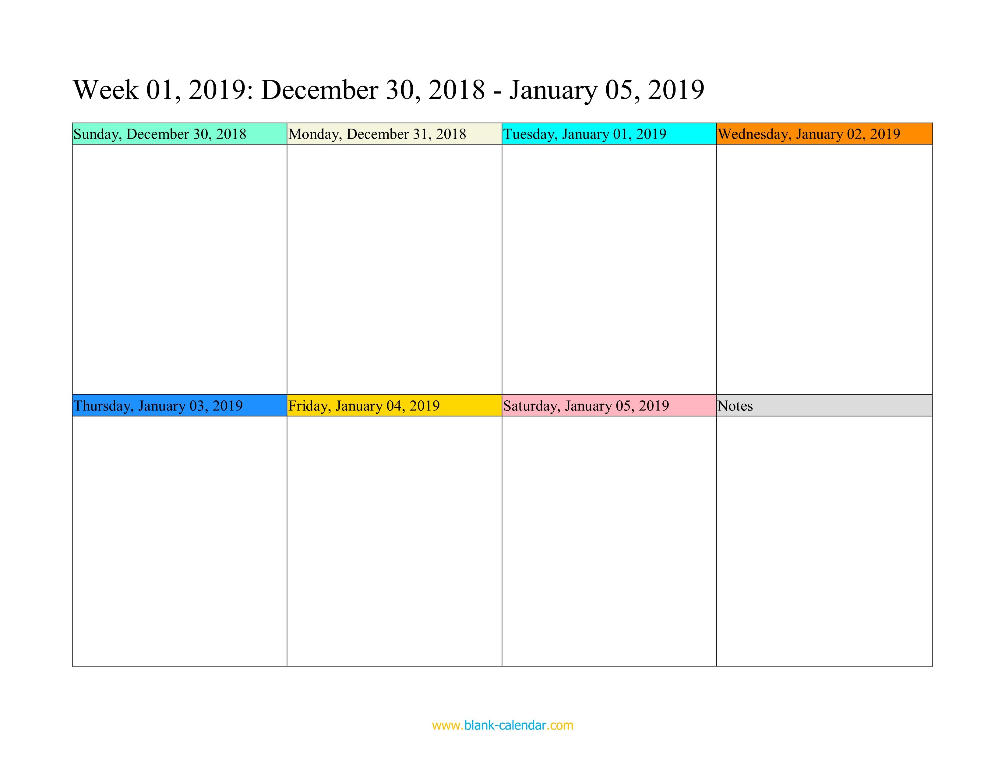 Weekly Calendar 2019 (Word, Excel, Pdf) Printable One Week Calendar Free