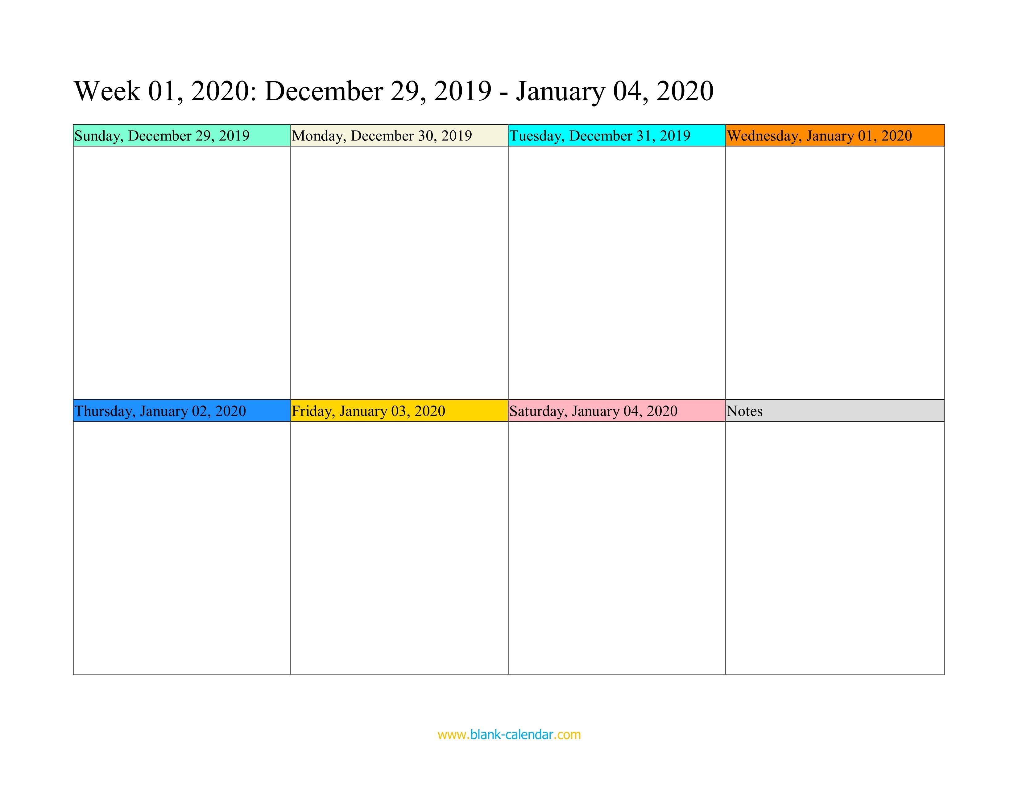 Weekly Calendar 2020 (Word, Excel, Pdf) Printable One Week Calender