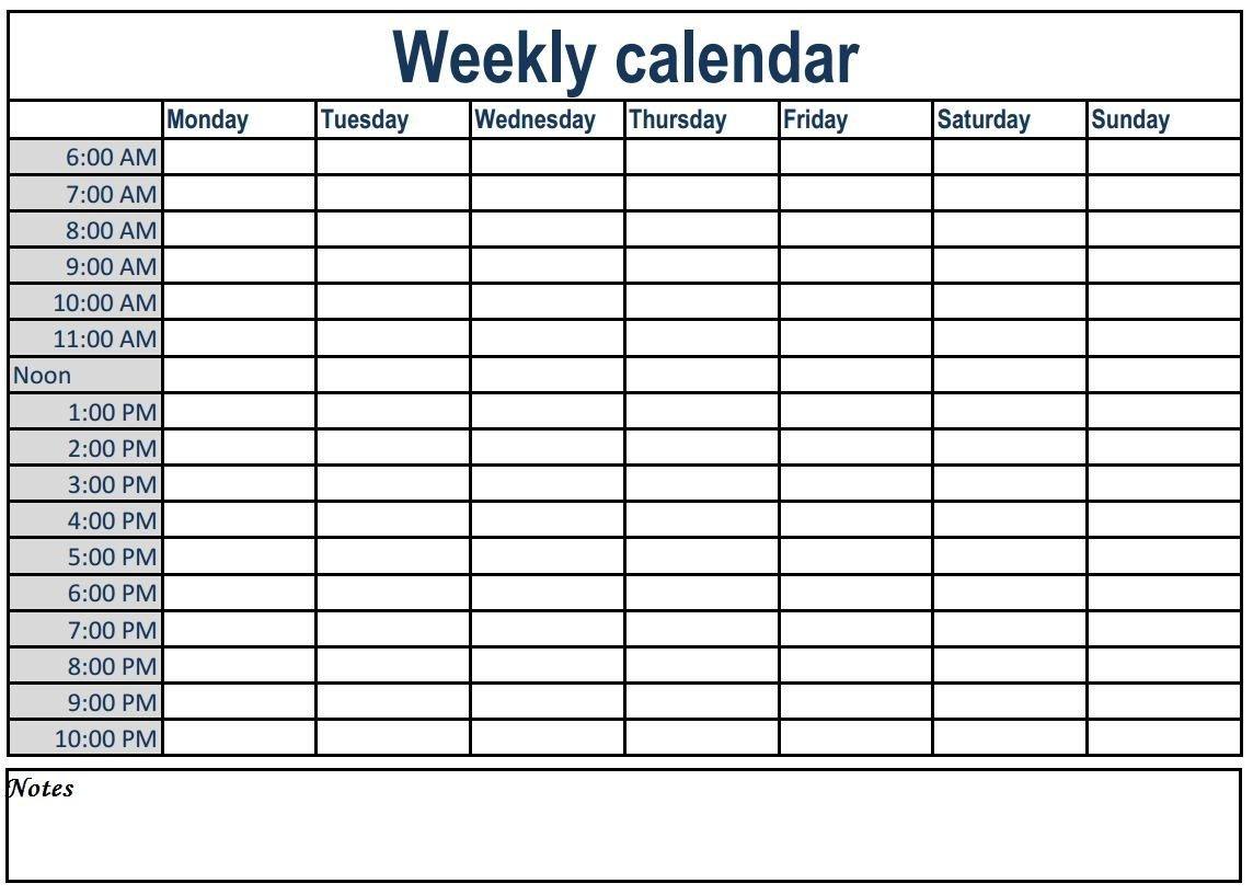 Weekly Calendar With Time Slots #weeklyplanner #calendars Calendar With Hourly Time Slots