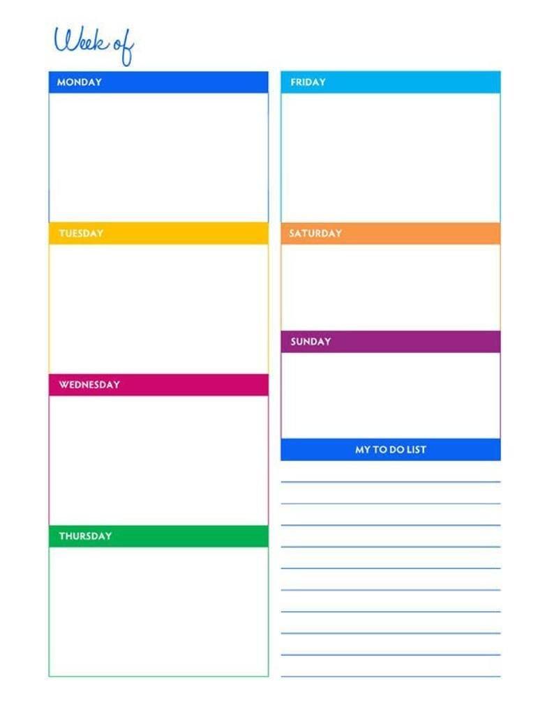 Weekly Portrait Blank Calendar Planner Printable – Instant Free Printable 8 1/2 X 11 Weekly Planner