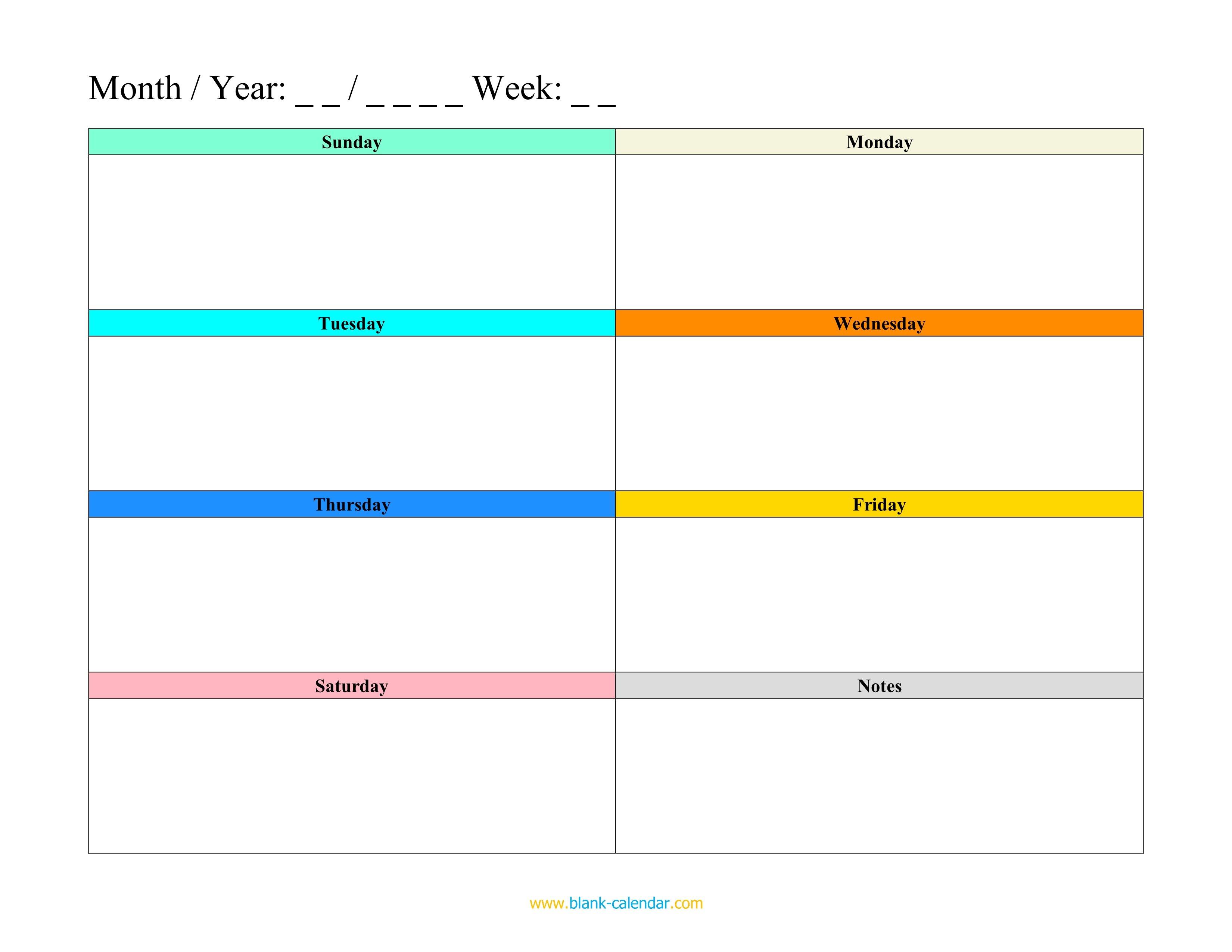 Weekly Schedule Planner Templates (Word, Excel, Pdf) Free Fillable Weekly Schedule Templates
