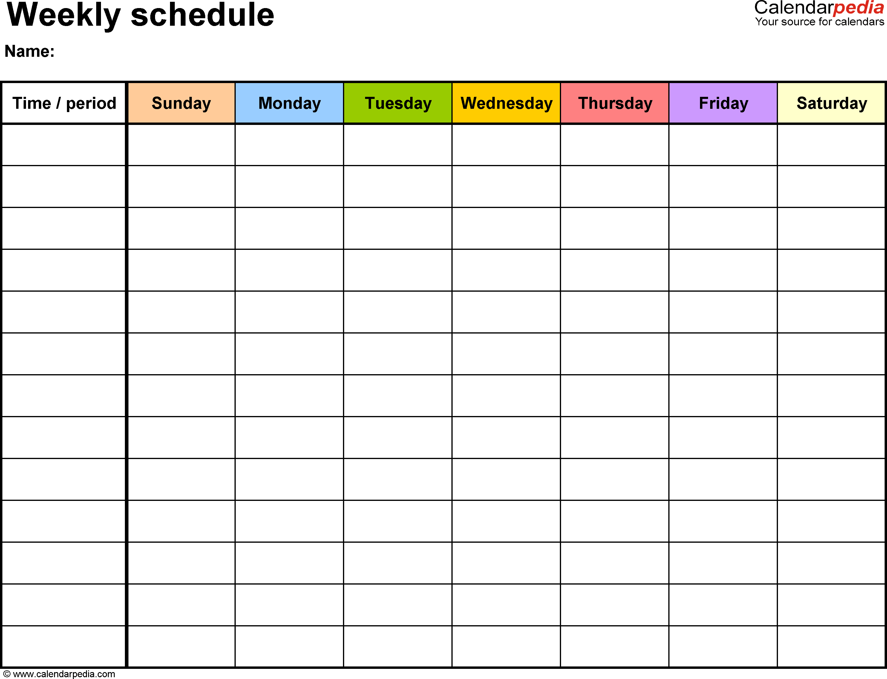 Weekly Schedule Template For Word Version 13: Landscape, 1 Saturday Through Friday Calendar Template