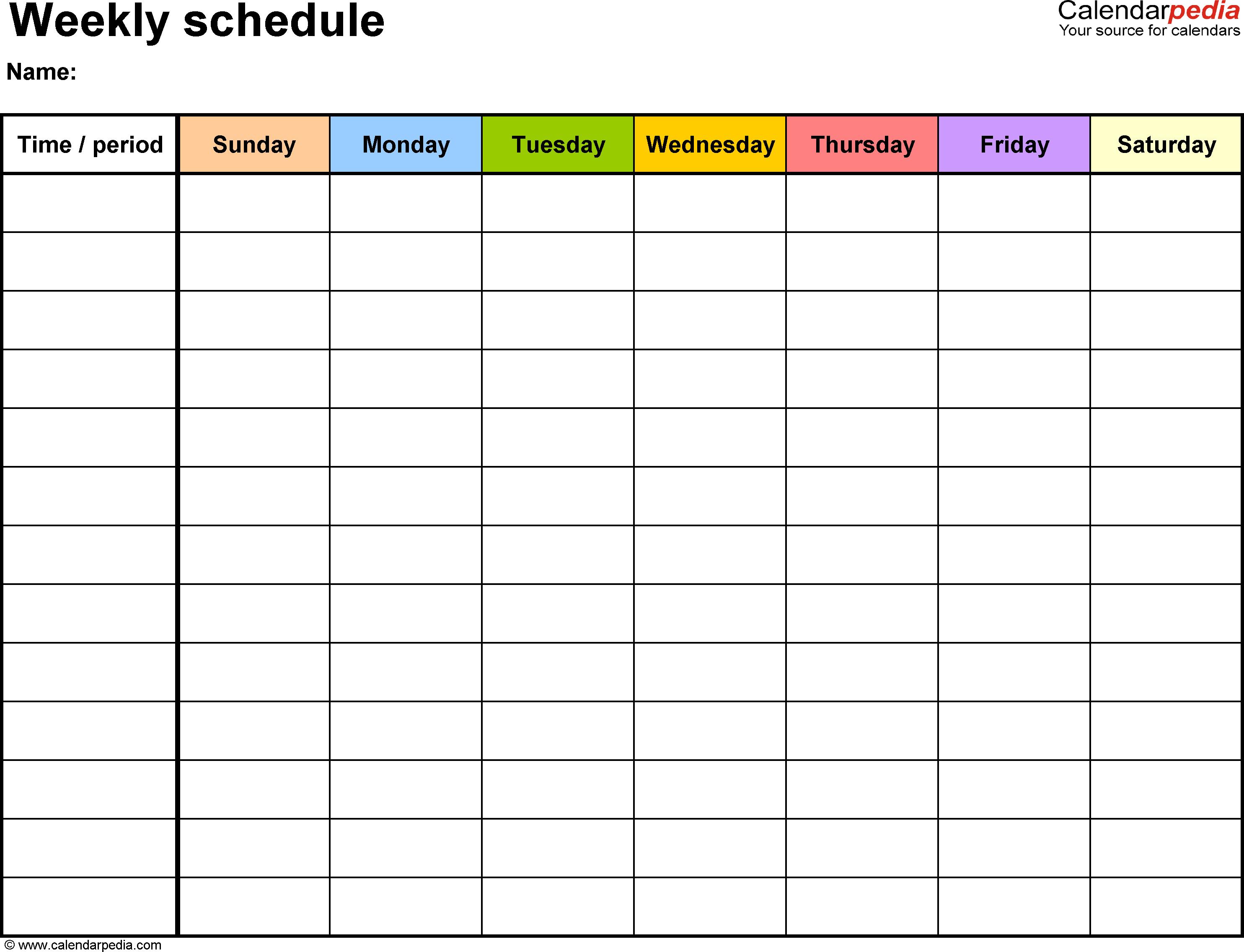 Weekly Schedule Template For Word Version 13: Landscape, 1 Sunday Through Saturday Blanl Calendar