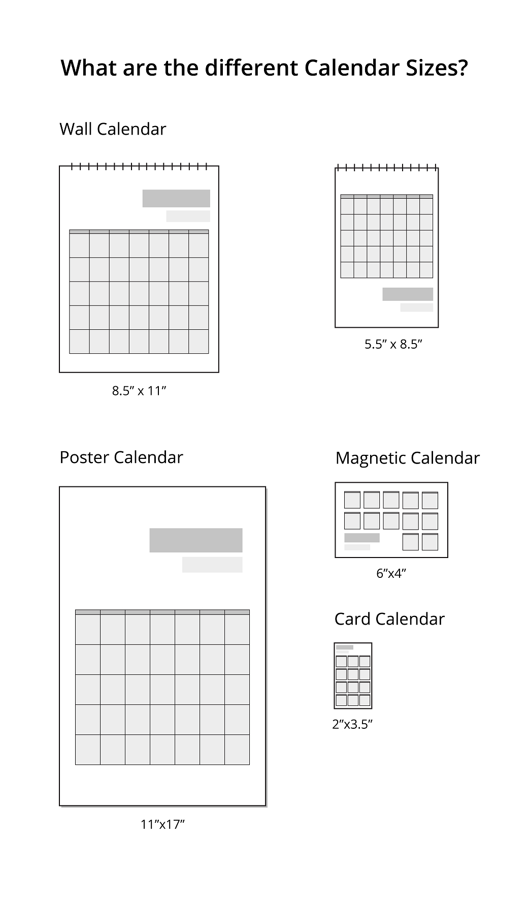 What Are The Different Calendar Sizes?   Uprinting 5.5 X 8.5 Inch Calendar
