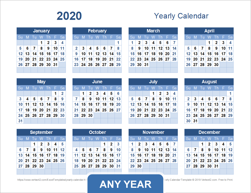 Yearly Calendar Template For 2020 And Beyond Printable 5 Year Calendar
