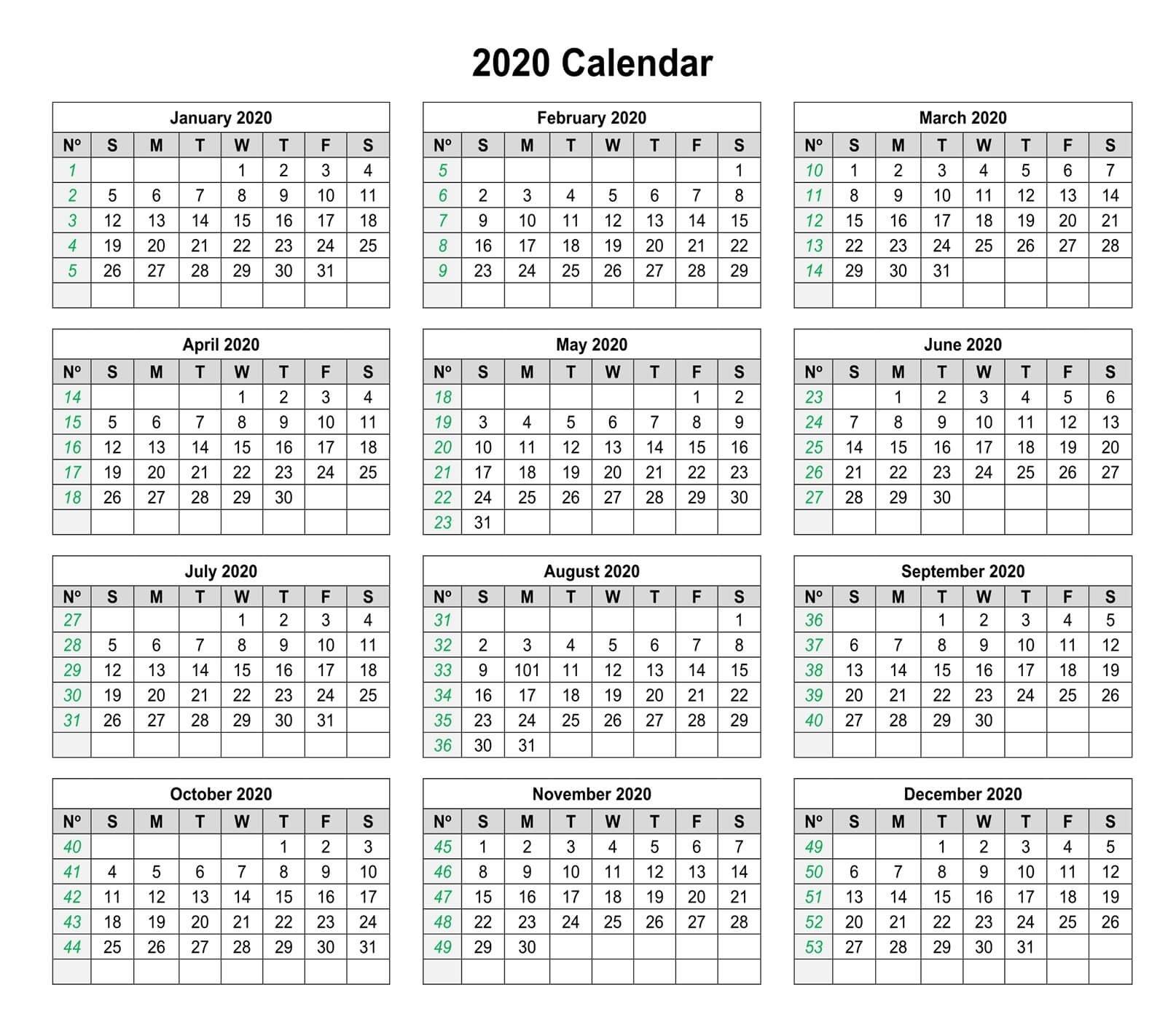1 Year Small Calendar 2020 Template   Free Printable Small Free Printable Calendar
