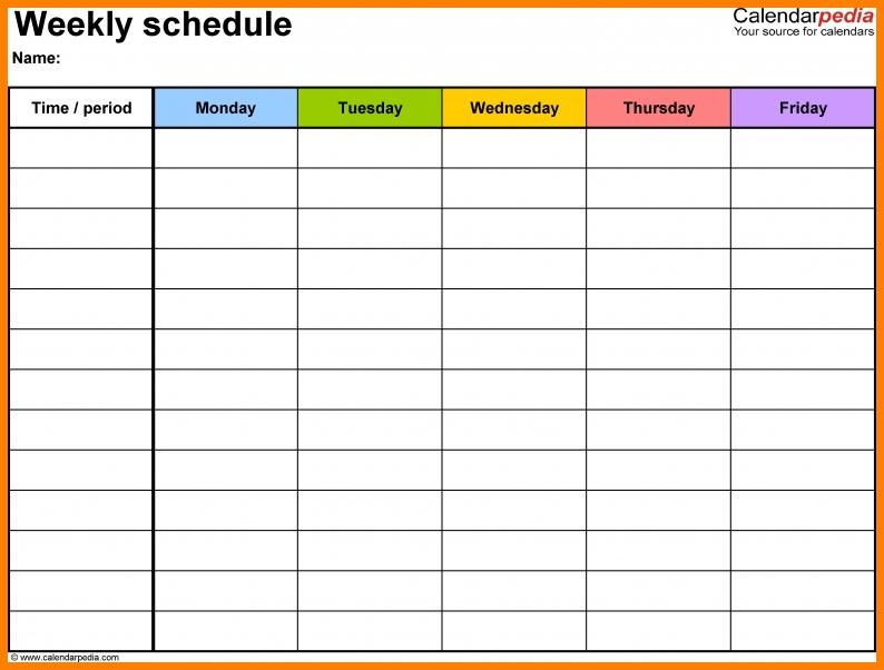 10+ Monday Thru Friday – Card Authorization 2017 Monday To Friday Calender