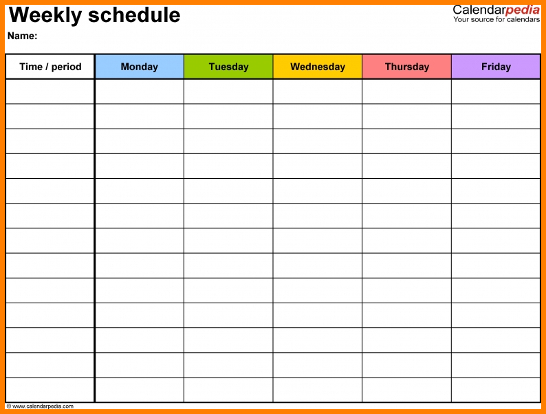 10+ Monday Thru Friday – Card Authorization 2017 Weekly Schedule Template Monday Friday