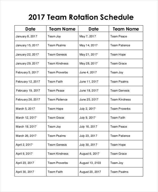 10+ Team Schedule Templates – Free Sample, Example Format Rotational On Call Calendar Example