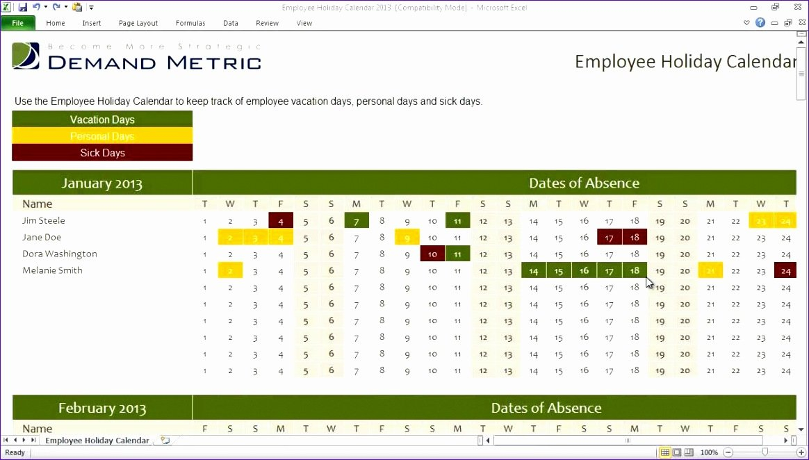 11 Staff Holiday Planner Excel Template – Excel Templates Time Off Calendar Excel Template