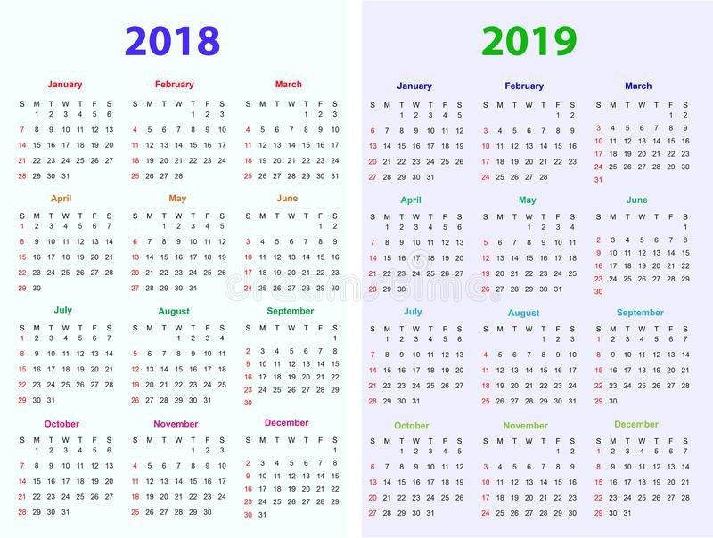 12 Months Calendar Design 2018 2019 Stock Vector 12 Months Calendar Editable
