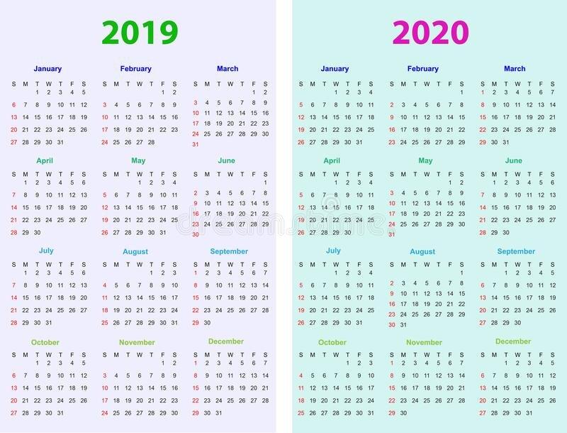 12 Months Calendar Design 2019 2020 Stock Vector 12 Month Editable Calendar