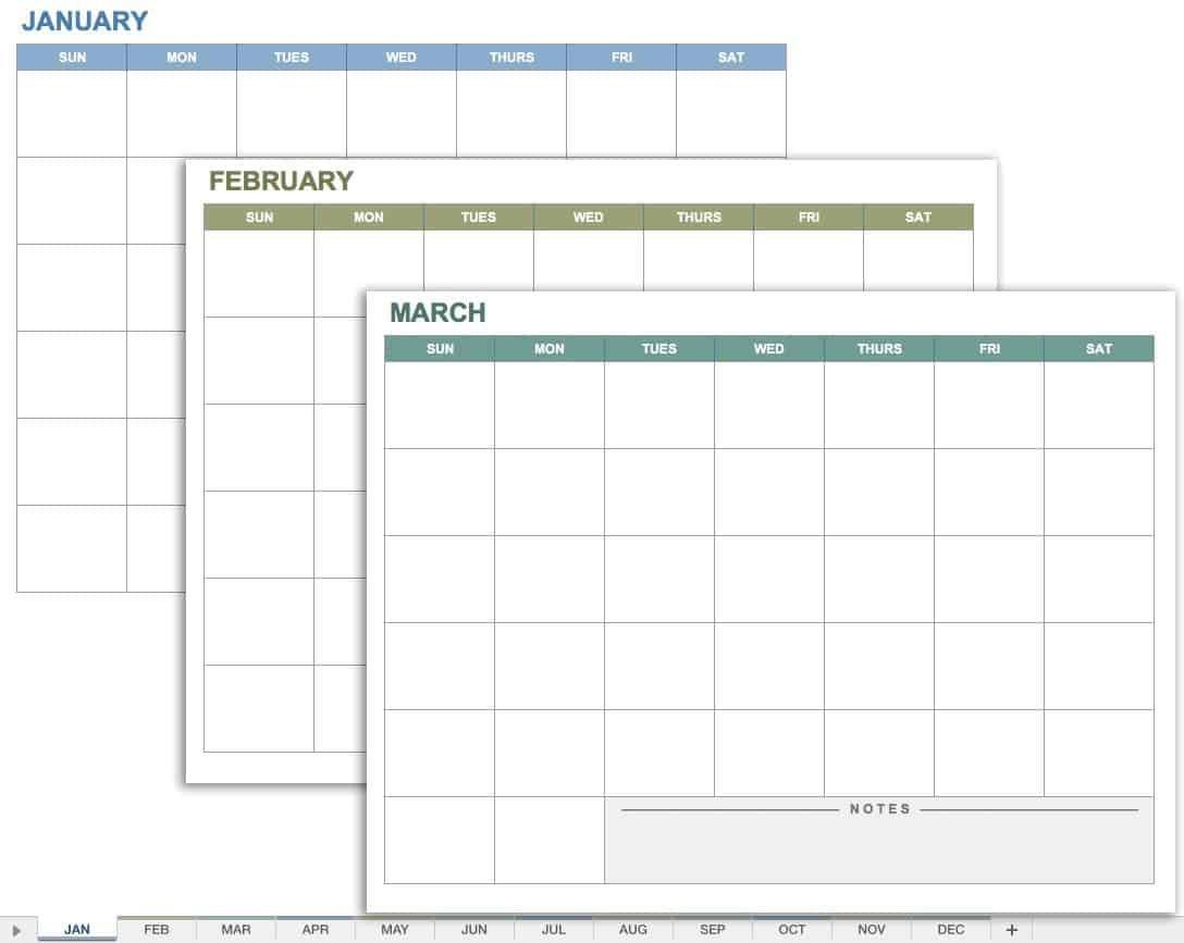 15 Free Monthly Calendar Templates | Smartsheet 5 Year Schedule Excel