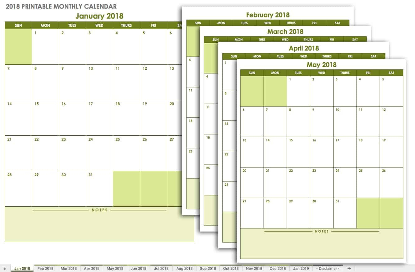 15 Free Monthly Calendar Templates | Smartsheet Free Printable Calendar Without Downloading