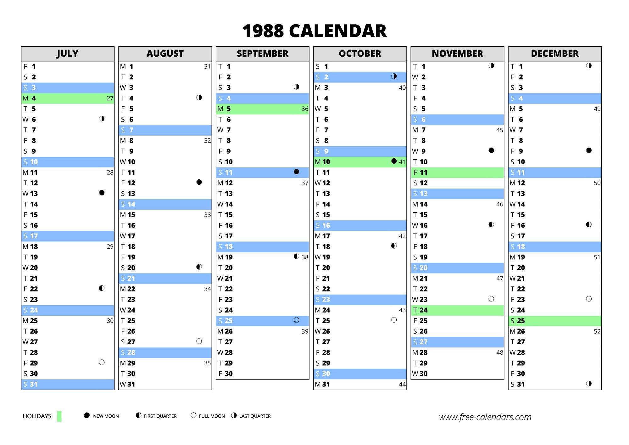 1988 Calendar ≡ Free Calendars Free Weekly Numbered 52 Week Calendar Printable