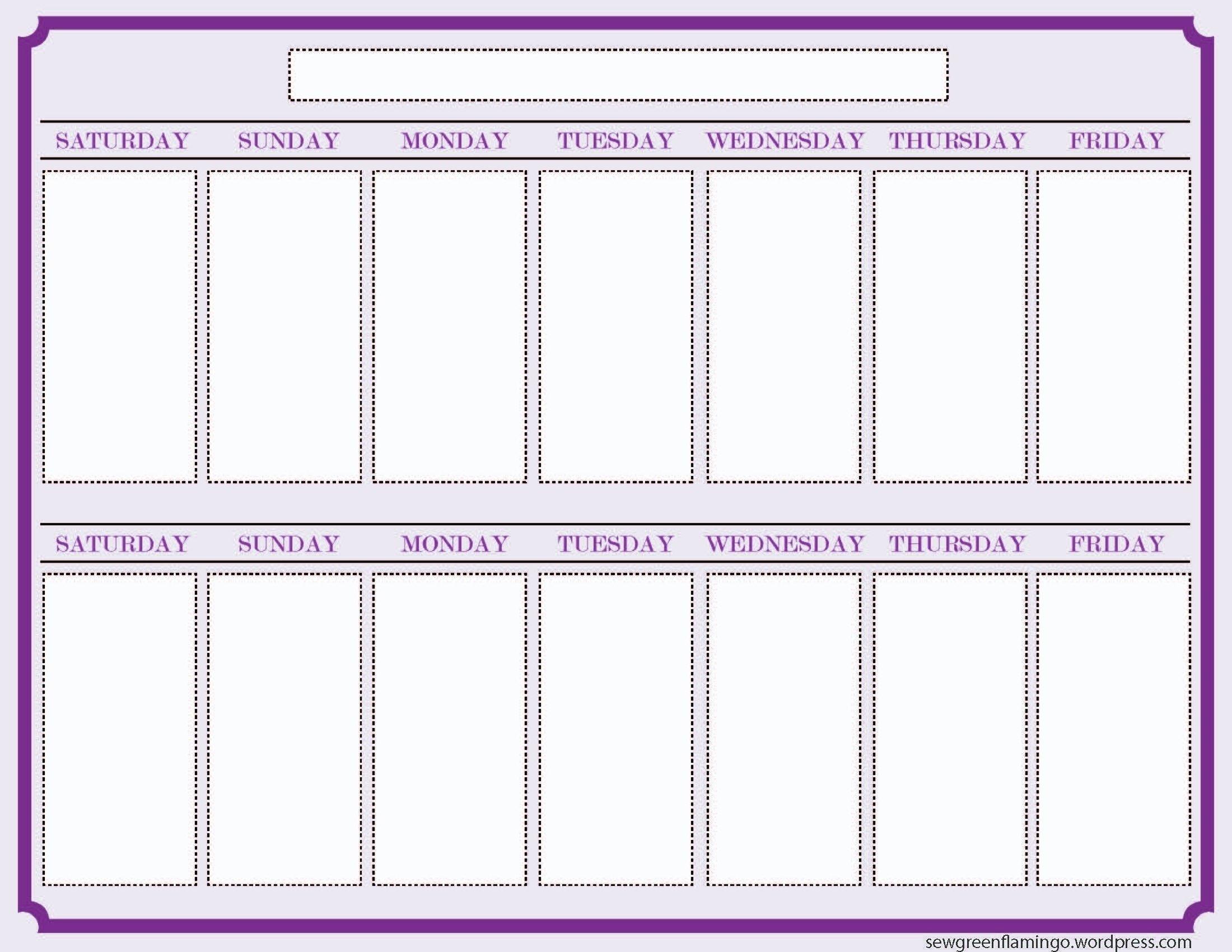 2 Week Calendar Printable Calendar – Calendar Inspiration 2 Week Planner Printable Free