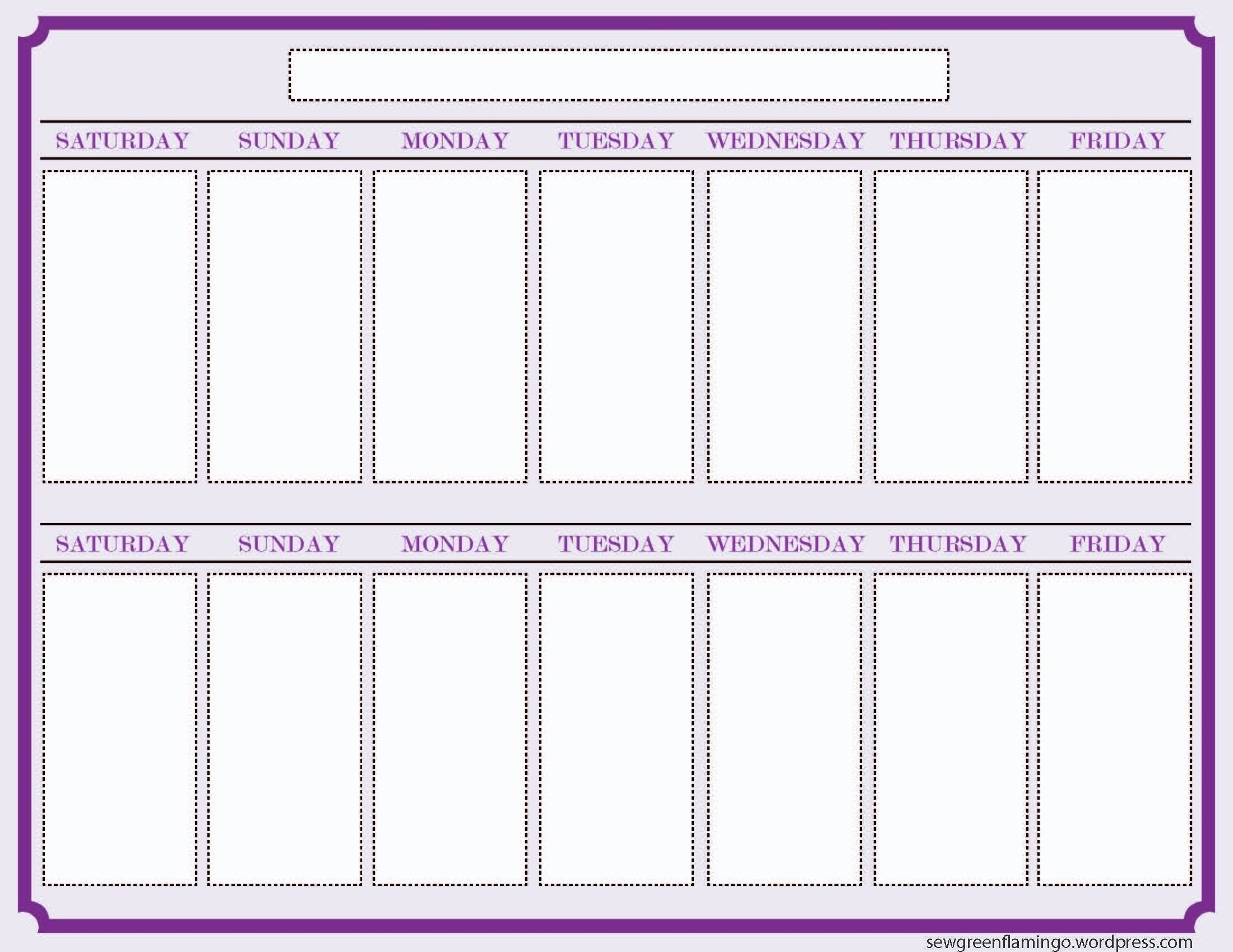 2 Week Calendar Printable Calendar – Calendar Inspiration 2 Week Planner Printable