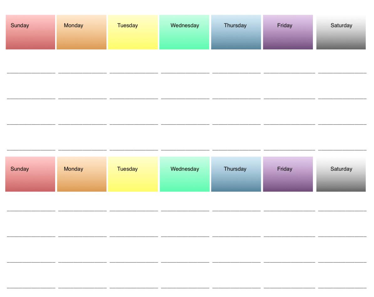 2 Week Printable Meal Planners: 4 Options, All Free ~ The Free Two Week Planning Calendaar