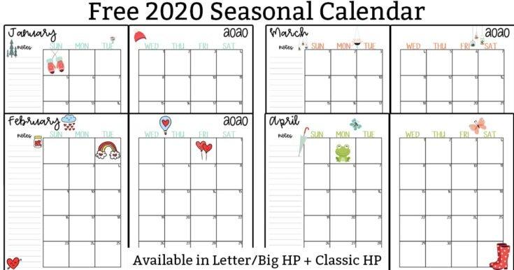 20 Free Printable 2020 Calendars – Lovely Planner Calendar 2 Week Block Printable Free April