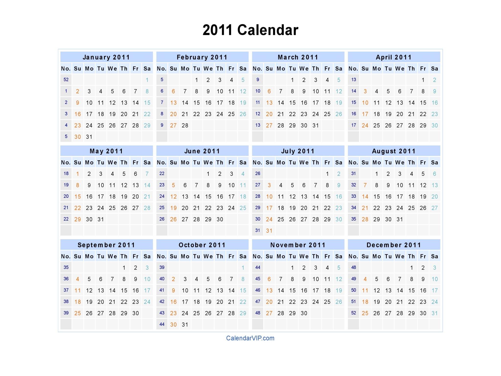 2011 Calendar – Blank Printable Calendar Template In Pdf Sap 52 Week Numbered Calendar