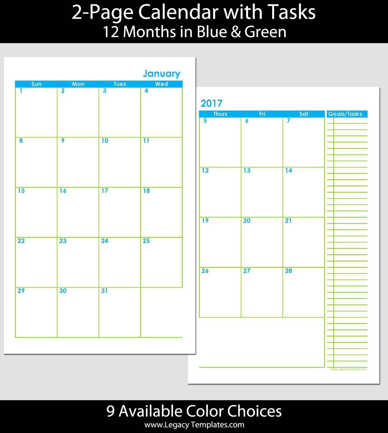 2015 12 Month 2 Page Calendar – Half Size | Legacy Templates 8 1/2 By 11 Inch Monthly Calendar