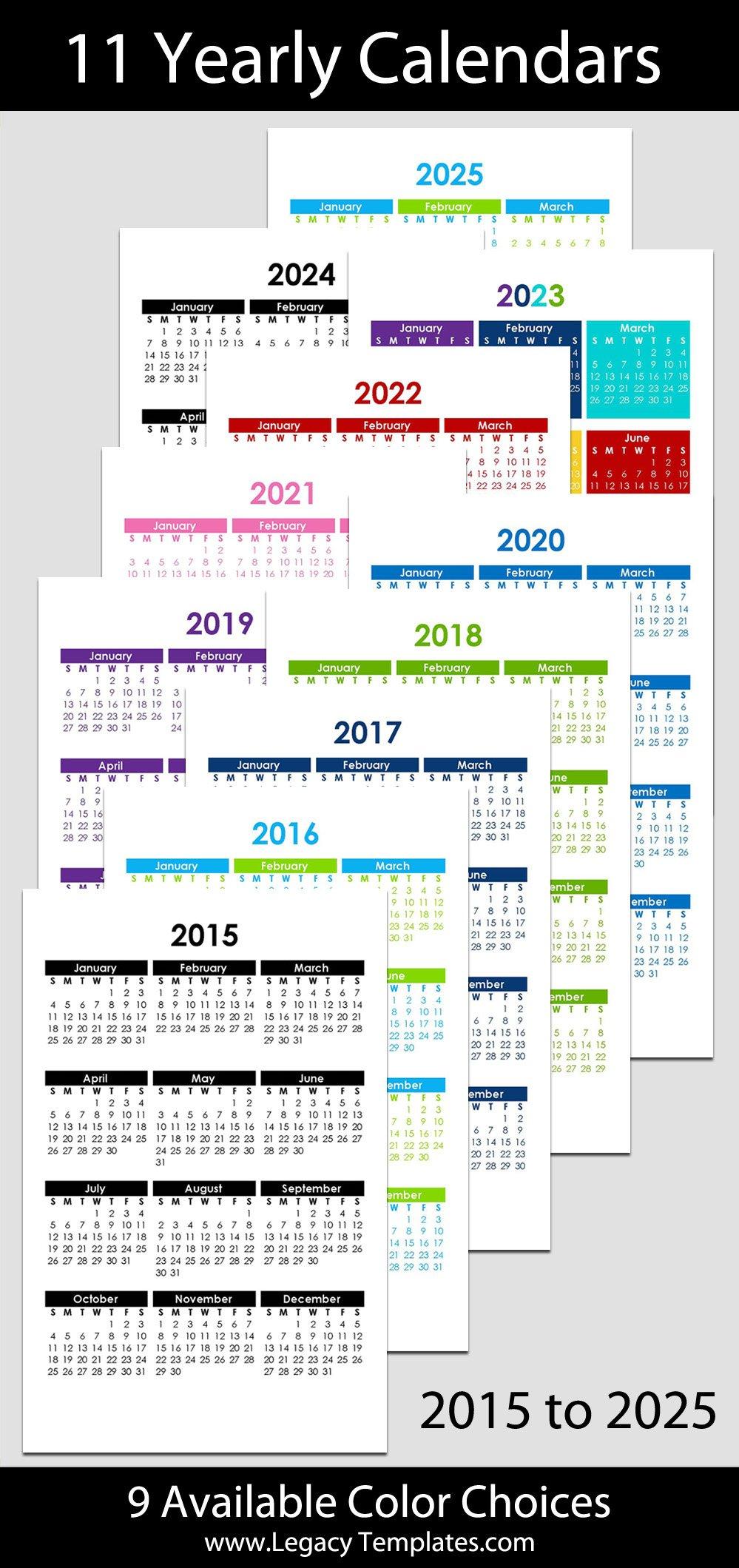 "2015 & 2025 Yearly Calendar – 5 1/2"" X 8 1/2"" | Legacy Free Printable Calendars 5 1/2 X 8 1/2"
