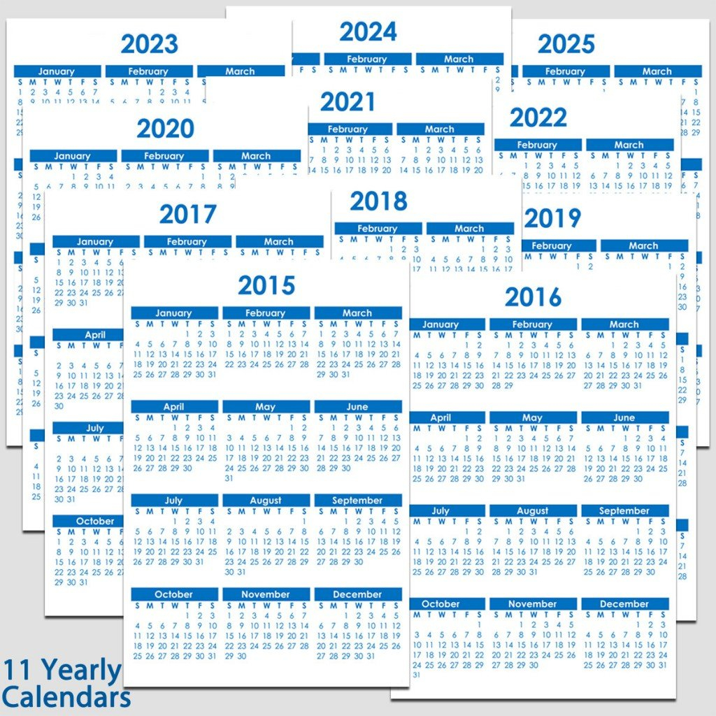 "2015 & 2025 Yearly Calendar – 5 1/2"" X 8 1/2"" | Legacy Printable 2020 Calendar 8 1/2 X 11"
