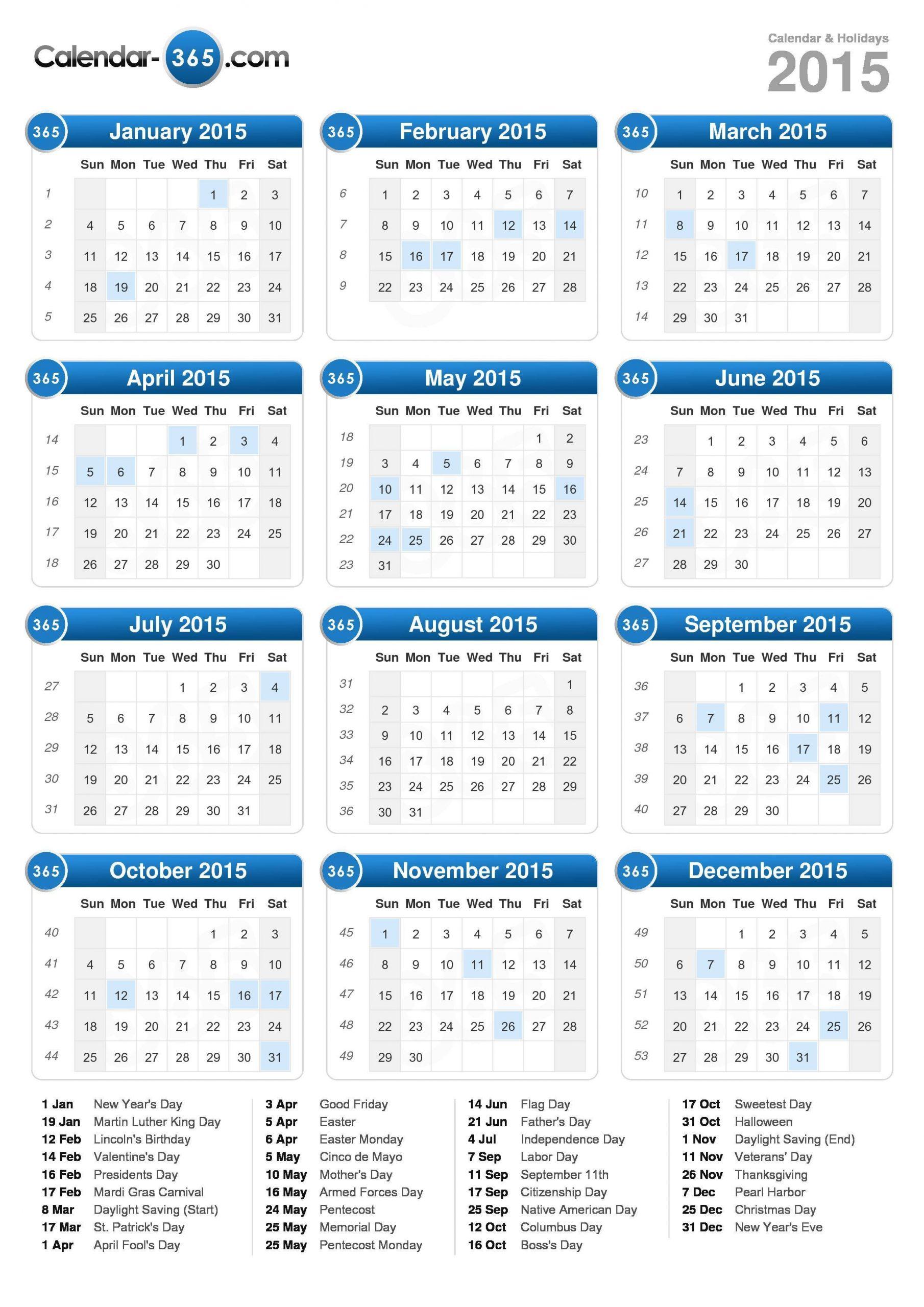 2015 Calendar Sap 52 Week Numbered Calendar