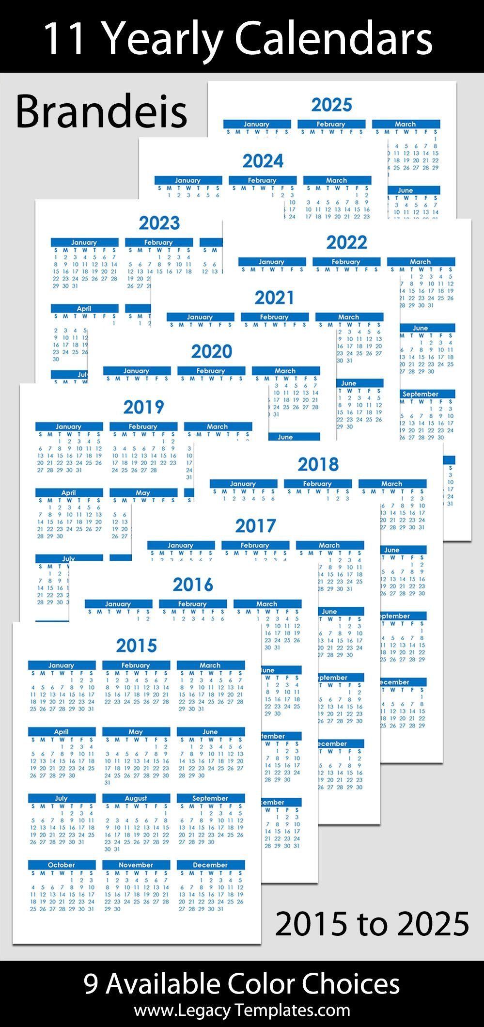 2015 To 2025 Printable Yearly Calendars – Letter Size – 8 8 And 1/2 By 11 Monthly Printabe Calendar