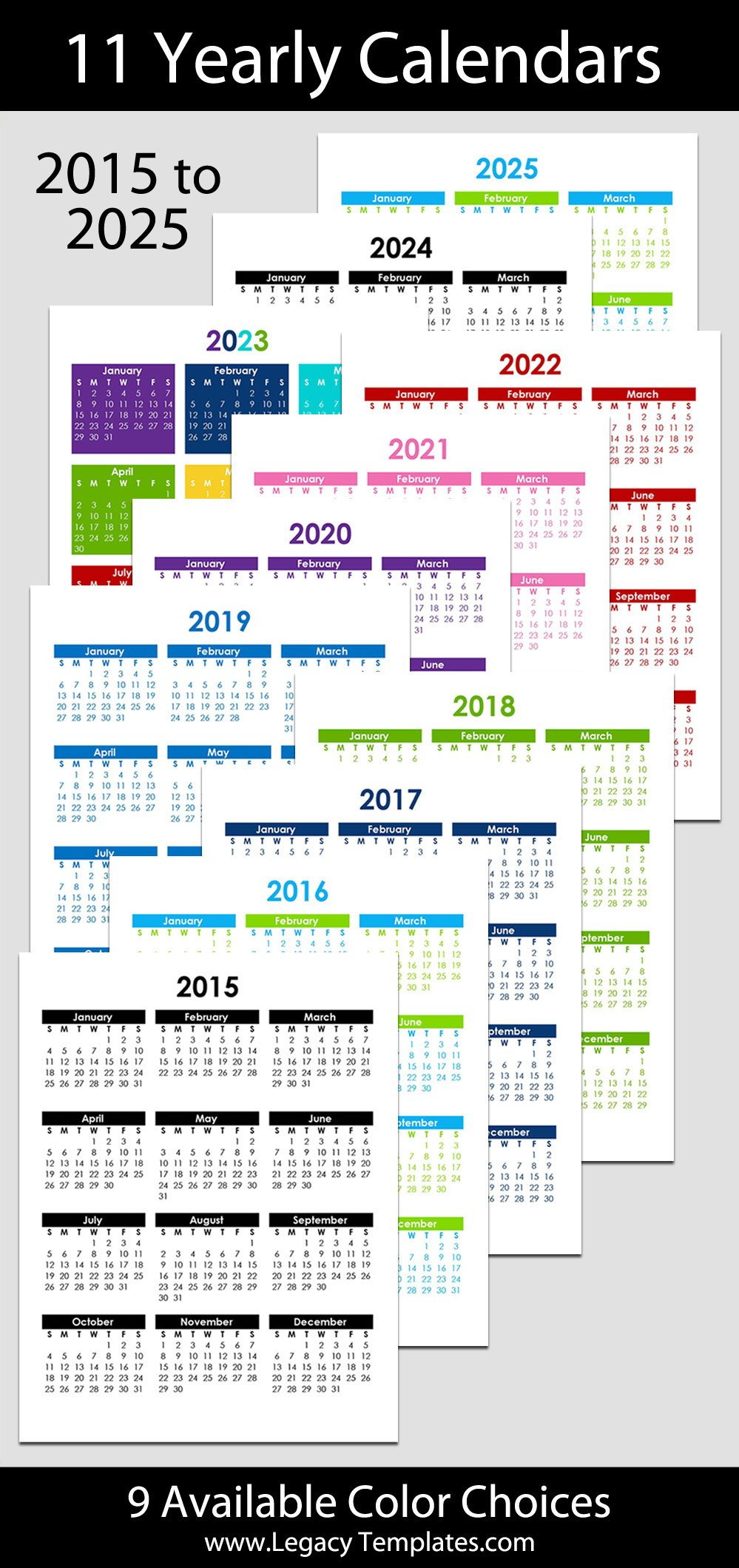 """2015 To 2025 Yearly Calendar – 8 1/2"""" X 11"""" 