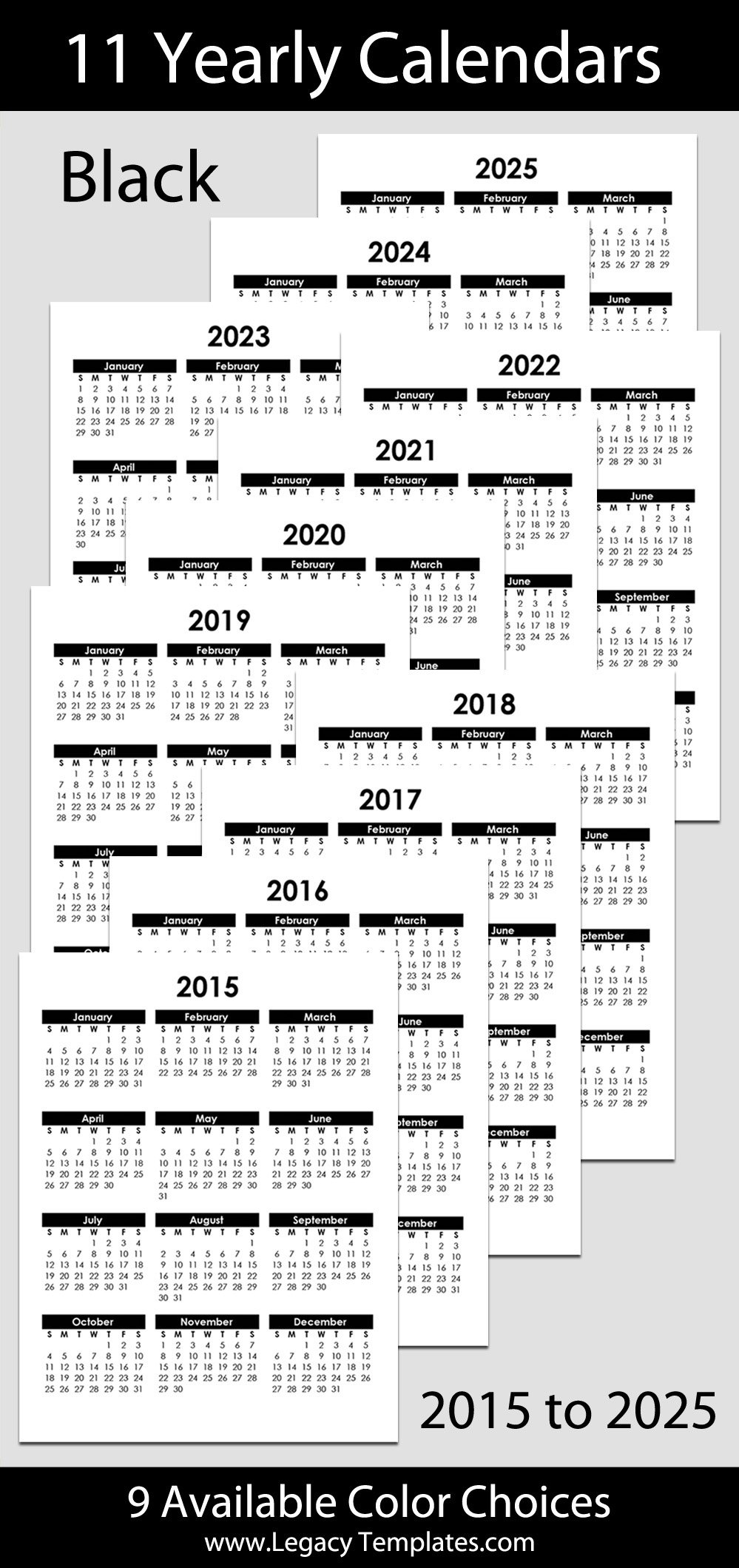 """2015 To 2025 Yearly Calendar – 8 1/2"""" X 11""""   Legacy Templates Printabel Planner Pages For 5.5 X 8.5 Planner"""