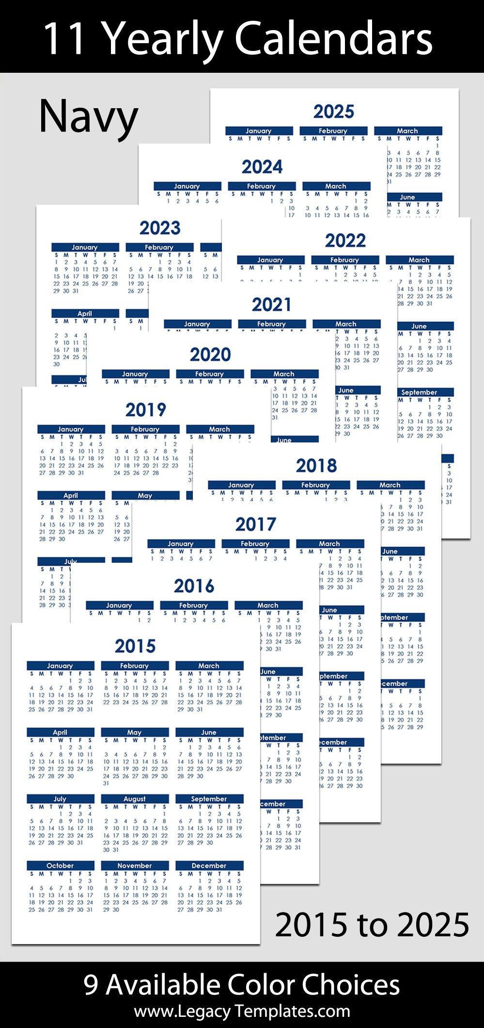 "2015 To 2025 Yearly Calendar – 8 1/2"" X 11"" | Legacy Templates Printable 2020 Calendar 8 1/2 X 11"