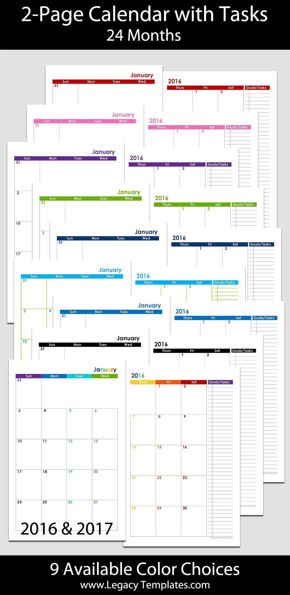 2016 & 2017 – 24 Months 2 Page Calendar – Half Size 8 1/2 X 11 Monthly Calendar Pages
